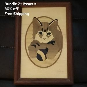 Vintage Hudson River Wood Inlay Kitty with Ball